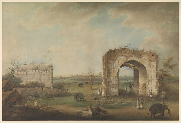View of a Mosque and Gateway at Motijhil, Attributed to Sita Ram (active 1814–23), Opaque watercolor on paper