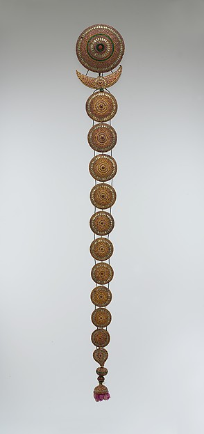 Plait Ornament (Jadanagam), Gold; inset with rock crystal, rubies, emeralds, and amethysts