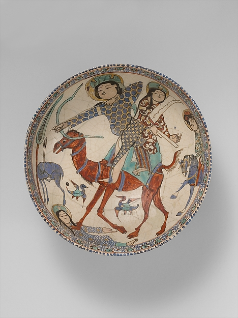 Bowl with Bahram Gur and Azada, Stonepaste; glazed (opaque monochrome), in-glaze- and overglaze-painted, gilded
