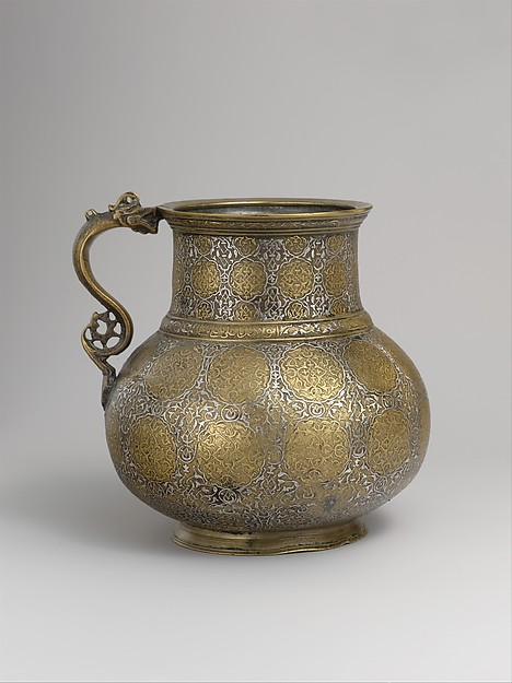 Dragon-Handled Jug with Inscription, Brass; cast and turned, engraved, and inlaid with silver, gold, and black organic compound