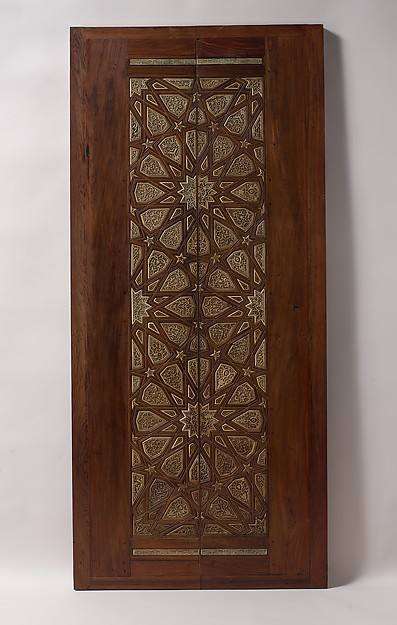 Pair of Minbar Doors, Wood (rosewood and mulberry); carved, inlaid with carved ivory, ebony, and other woods