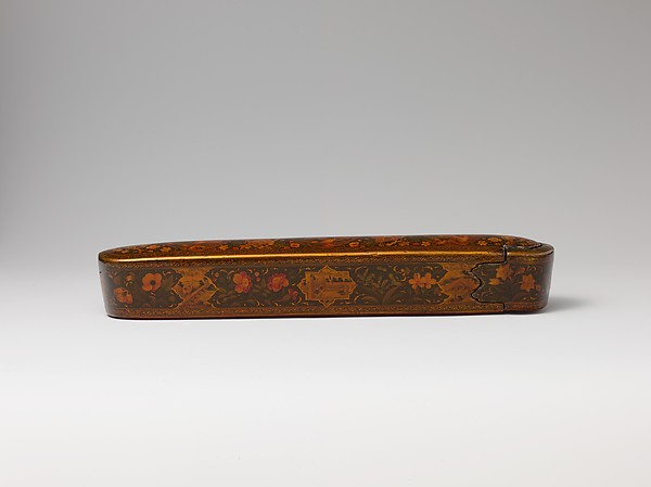 Pen Box with Architectural Cartouches, 'Ali Ashraf, Papier-mâché; painted, sprinkled with mica, and lacquered