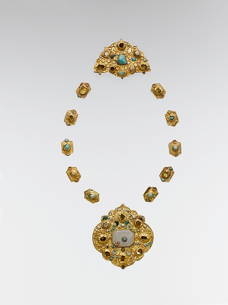 Jewelry Elements, Gold sheet; worked, chased, and set  with turquoise, gray chalcedony, and glass