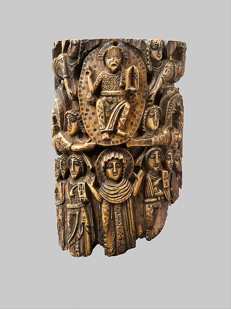 Tusk Fragment with the Ascension, Ivory; carved