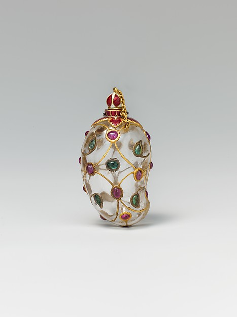 Mango-Shaped Flask, Rock crystal; set with gold, enamel, rubies, and emeralds