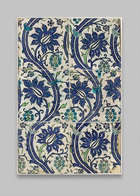 Tile Panel with Wavy-vine Design, Stonepaste; polychrome painted under transparent glaze