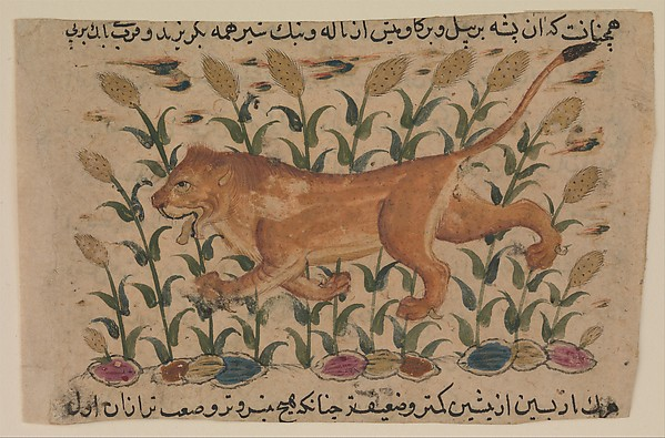 """ A Lion"", Folio from a Dispersed Nuzhatnama-i 'Ala'i of Shahmardan ibn Abi'l Khayr, Shamardan ibn Abi 'l Khayr (active 11th century), Ink, opaque watercolor, and gold on paper"