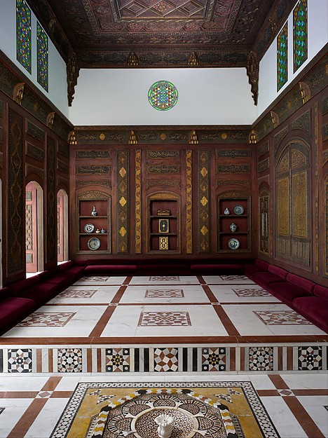 Damascus Room, Wood (poplar) with gesso relief, gold and tin leaf, glazes and paint; wood (cypress, poplar, and mulberry), mother-of-pearl, marble and other stones, stucco with glass, plaster ceramic tiles, iron, brass