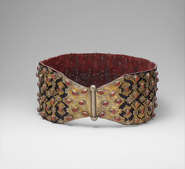 Belt, Silver; fire-gilded and chased, with applied decoration, cabochon and table-cut carnelians, and synthetic resin stones; mounted on leather