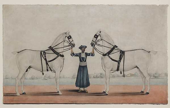 A Syce (Groom) Holding Two Carriage Horses, attributed to Shaikh Muhammad Amir of Karraya (active 1830s–40s), Opaque watercolor on paper