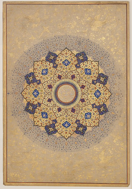 """""""Rosette Bearing the Names and Titles of Shah Jahan"""", Folio from the Shah Jahan Album, Ink, opaque watercolor, and gold on paper"""