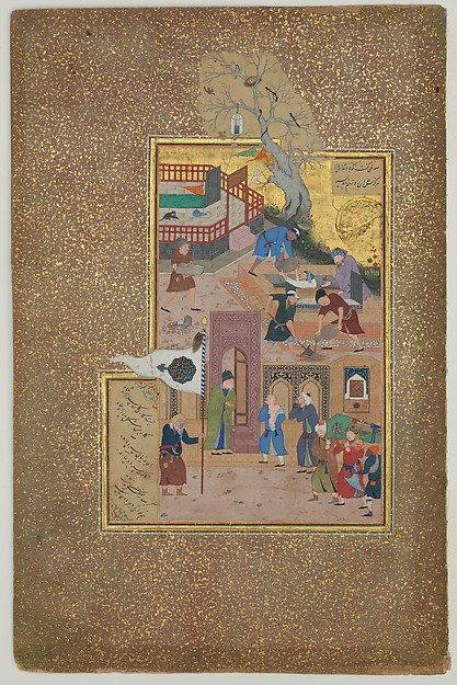 """Funeral Procession"", Folio 35r from a Mantiq al-tair (Language of the Birds), Sultan 'Ali al-Mashhadi (active late 15th–early 16th century), Opaque watercolor, silver, and gold on paper"