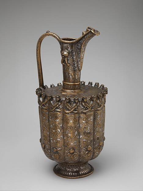Ewer, Brass; raised, repoussé, inlaid with silver and a black compound