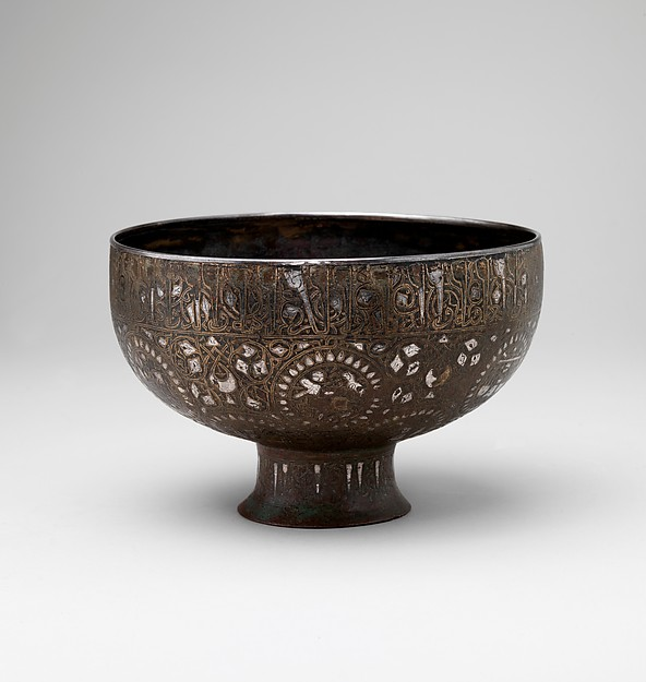 Footed Bowl, Bronze; inlaid with silver and black compound
