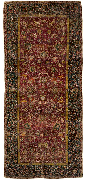 The Emperor's Carpet, Silk (warp and weft), wool (pile); asymmetrically knotted pile