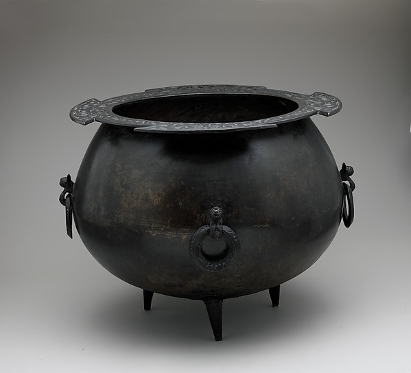 Cauldron, Copper alloy; worked and incised