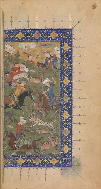 Divan (Collected Works) of Jami, Maulana Nur al-Din `Abd al-Rahman Jami (1414–92), Ink, opaque watercolor, and gold on paper; leather binding