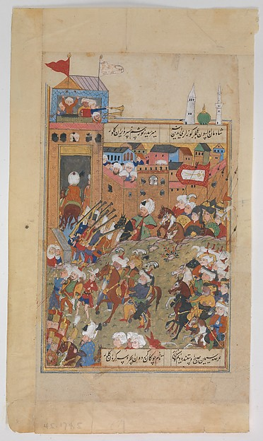 """Ottoman Army Entering a City"", Folio from a Divan of Mahmud `Abd al-Baqi, Mahmud 'Abd-al Baqi (1526–1600), Ink, opaque watercolor, and gold on paper"