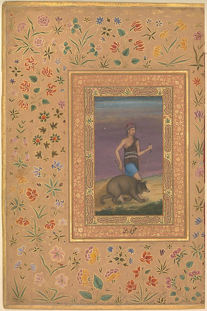"""Dervish Leading a Bear"", Folio from the Shah Jahan Album, Painting by Govardhan (active ca. 1596–1645), Ink, opaque watercolor, and gold on paper"