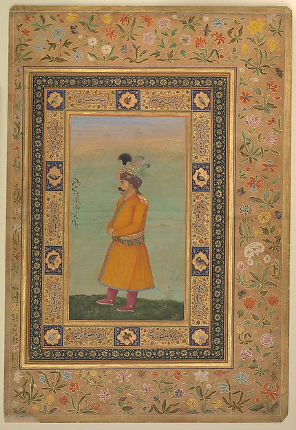 """""""Portrait of Muhammad Ali Baig"""", Folio from the Shah Jahan Album, Ink, opaque watercolor, and gold on paper"""