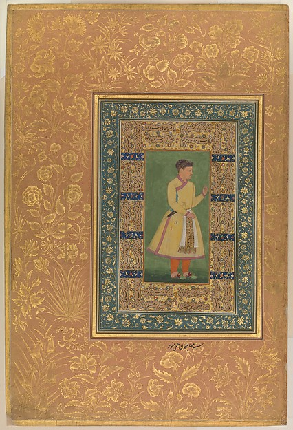 """""""Portrait of Zamana Beg, Mahabat Khan"""", Folio from the Shah Jahan Album, Painting by Manohar (active ca. 1582–1624), Ink, opaque watercolor, and gold on paper"""