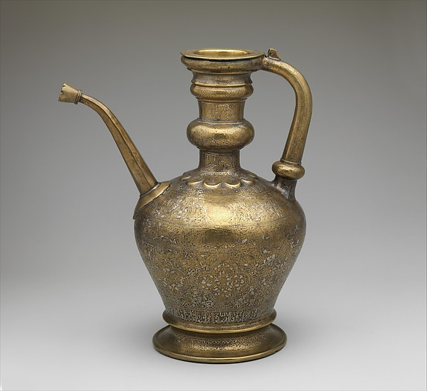 Ewer with Inscription, Horsemen, and Vegetal Decoration, `Umar ibn al-Hajji Jaldak, Brass; engraved and inlaid with silver