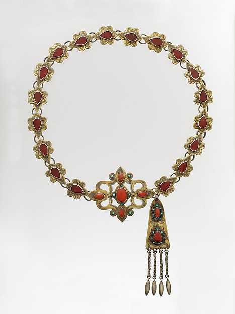 Ornamental Elements Assembled as a Belt, Silver; fire-gilded and chased, with openwork, wire links, pendants, table-cut carnelians, and glass and turquoise beads