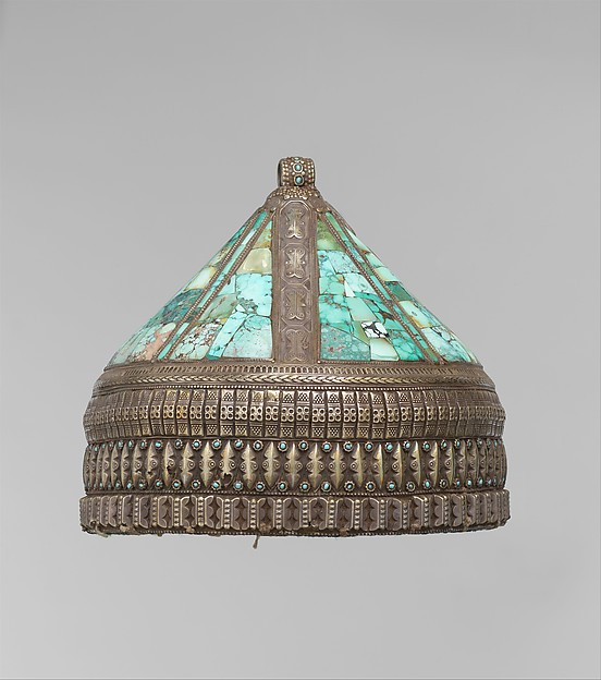 Crown, Silver, with stamped and applied decoration, decorative wire, silver shot, table-cut turquoises, and turquoise beads; quilted cotton lining.
