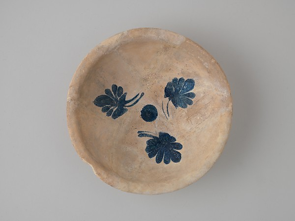 Imported Cobalt-on-White Bowl, Earthenware; painted in blue on opaque white (tin) glaze