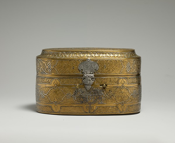 Lidded Box of Muhammad al-Hamawi, Timekeeper at the Umayyad Mosque, Damascus, Brass; engraved and inlaid with silver