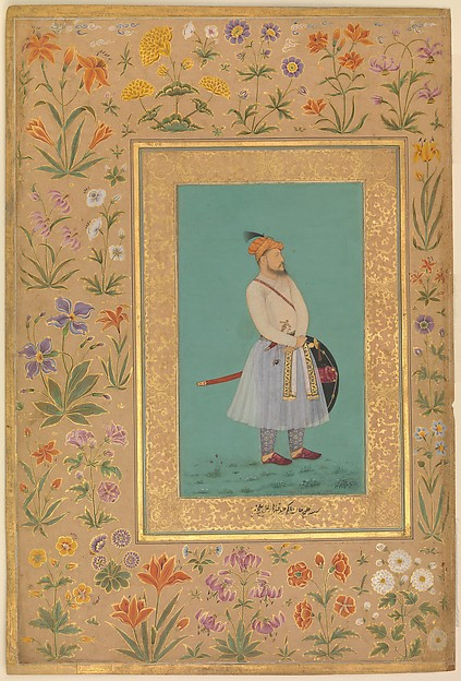 """Portrait of Qilich Khan Turani"", Folio from the Shah Jahan Album, Painting by La'lchand, Ink, opaque watercolor, and gold on paper"