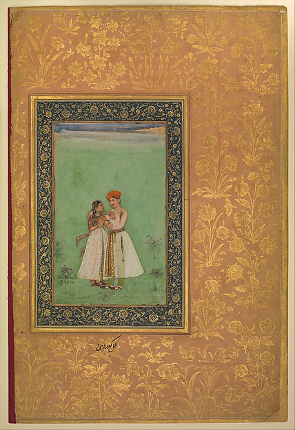 """""""Shah Shuja with a Beloved"""", Folio from the Shah Jahan Album, Painting by Govardhan (active ca. 1596–1645), Ink, opaque watercolor, and gold on paper"""