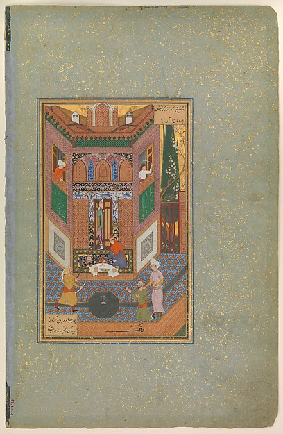 """""""A Ruffian Spares the Life of a Poor Man"""", Folio 4v from a Mantiq al-tair (Language of the Birds), Farid al-Din `Attar (ca. 1142–1220), Ink, opaque watercolor, silver, and gold on paper"""