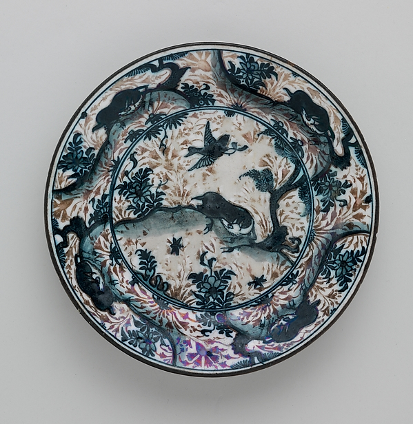 Plate Depicting Birds and Animals, Stonepaste; painted under transparent glaze