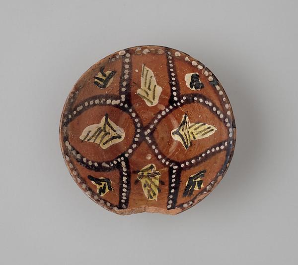 Four Polychrome Slip Painted Bowls, Earthenware; red slip with polychrome slip decoration under transparent glaze