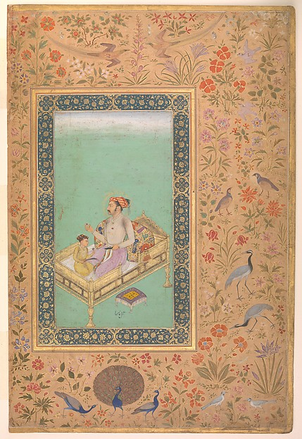 """""""The Emperor Shah Jahan with his Son Dara Shikoh"""", Folio from the Shah Jahan Album, Painting by Nanha, Ink, opaque watercolor, and gold on paper Margins: Gold and opaque watercolor on dyed paper"""