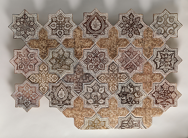 Panel Composed with Tiles in Shape of Eight-pointed Stars and Crosses, Stonepaste; luster-painted on opaque white glaze under transparent glaze