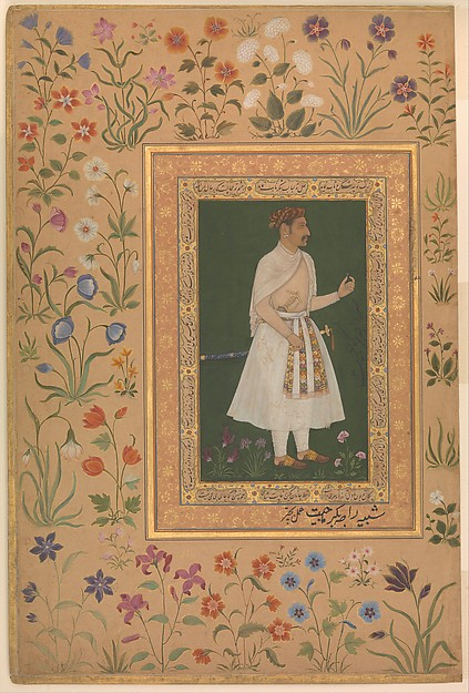 """Portrait of Raja Bikramajit (Sundar Das)"", Folio from the Shah Jahan Album, Painting by Bichitr (active ca. 1610–60), Ink, opaque watercolor, and gold on paper"