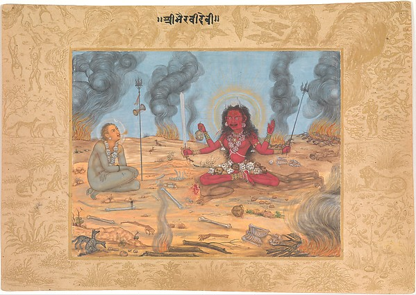 The Goddess Bhairavi Devi with Shiva, Attributed to Payag (Indian, active ca. 1591–1658), Opaque watercolor and gold on paper