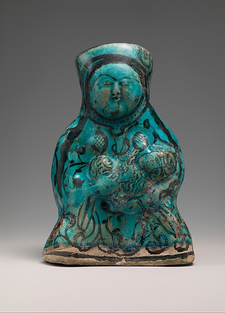Molded Vessel in the Form of a Mother and Child, Stonepaste; molded, painted under transparent turquoise glaze