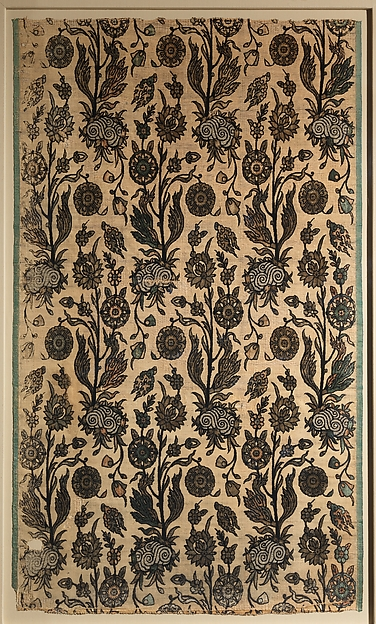 Velvet Panel with Flowering Plants, Silk, cotton, flat metal wrapped thread; cut and voided velvet, brocaded