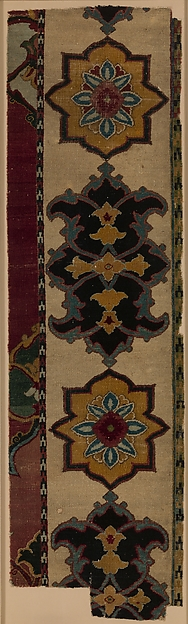 Fragment, Cotton and silk (foundation), wool (pile); asymmetrically knotted pile