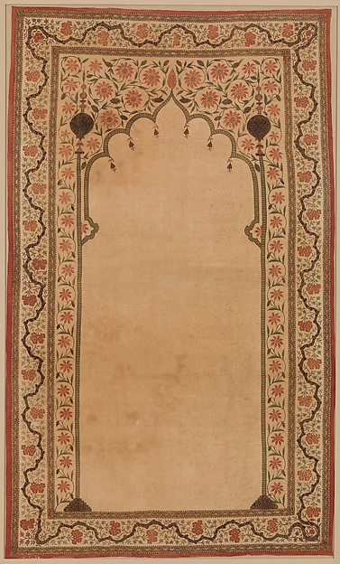 Kalamkari Panel with Niche, Cotton; plain weave, mordant painted and dyed, resist dyed