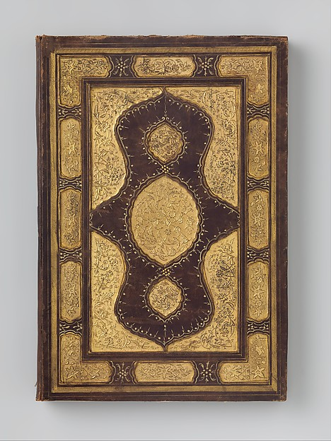 Bookbinding, Leather; stamped, painted, punched, and gilded