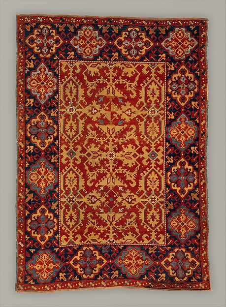 'Ornamental Lotto' carpet, Wool (warp, weft and pile); symmetrically knotted pile