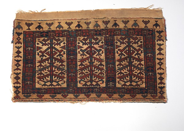 Storage Bag Fragment, Wool (warp, weft and pile); symmetrically knotted pile