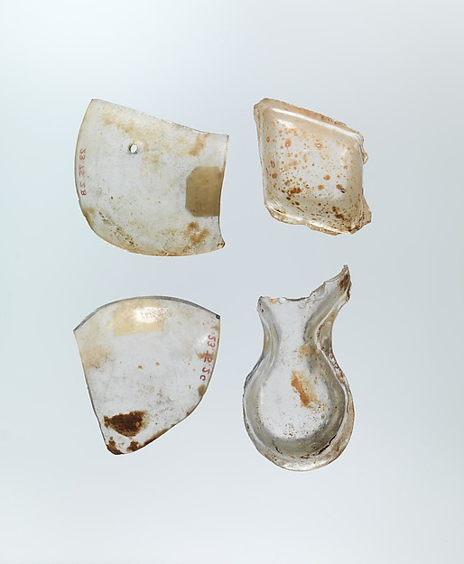 Shaped Inlay Pieces, Glass; mold blown and tooled