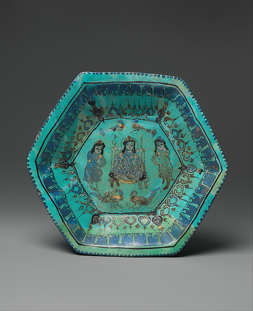 Bowl with Enthroned Figure, Attendants, and Peacocks, Stonepaste; glazed in opaque turquoise, in-glaze- and overglaze-painted