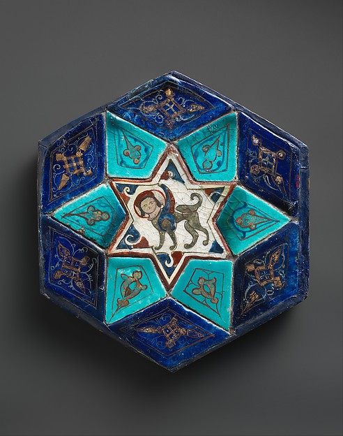 Hexagonal Tile Ensemble with Sphinx, Stonepaste; over- and underglaze-painted, gilded