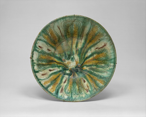 Bowl with Green, Yellow, and Brown Splashed Decoration, Earthenware; white slip, incised and splashed with polychrome glazes under transparent glaze (sgraffito ware)